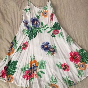 White with flowers dress